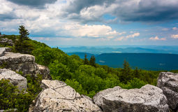 Boulders and eastern view of the Appalachian Mountains from Bear Royalty Free Stock Images