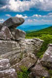 Boulders and eastern view of the Appalachian Mountains from Bear Royalty Free Stock Photography