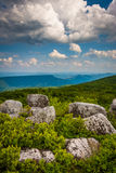 Boulders and eastern view of the Appalachian Mountains from Bear Stock Photo