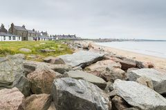 Beach and seafront houses in Aberdeen, Scotland Stock Photo