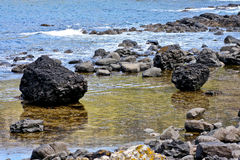 Boulders at the Giants Causeway and Cliffs, Northern Ireland Royalty Free Stock Image