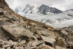 Boulders at Glacier du Tour in French Alps Stock Photos