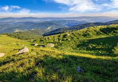 Boulders in green grass on the hillside. Boulders on the grassy hillside of mountain range in summer time Stock Image