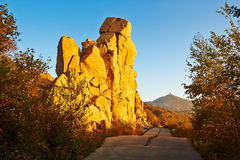 The boulders and Having peak sunset autumn Royalty Free Stock Photography