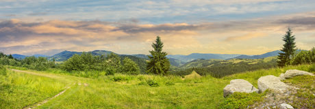 Boulders on hillside meadow in mountain at sunrise Royalty Free Stock Image