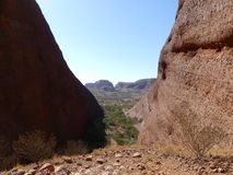 Between the boulders in Kata Tjuta National Park The Olgas stock photo