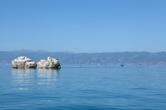 Boulders in Lake Orhid, Macedonia Royalty Free Stock Image