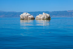 Boulders in Lake Orhid, Macedonia Royalty Free Stock Photos