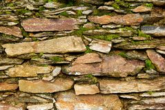 Boulders and moss. Boulder and moss village wall Royalty Free Stock Photography