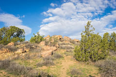 Boulders on Pacific Crest Trail. Rock boulders alongside the Pacific Crest Trail in the mojave Desert of Southern California royalty free stock photography