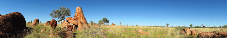 Boulders panorama. Boulders rock formation near Great Northern Hwy, Australia royalty free stock photo