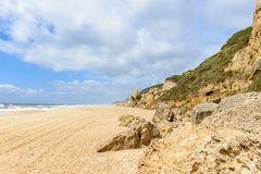 Boulders on Praia do Norte, Nazare (Portugal) Royalty Free Stock Images