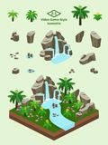 Isometric Simple Rocks Set - Prehistoric Forest Rock Formation. Boulders, rocks, and waterfall set for video game-type isometric prehistoric ferns and cycads Stock Photo