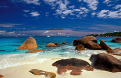 Boulders in the sand. Anse Lazio, Praslin, Seychelles One of the most beautiful beaches in the world royalty free stock photography