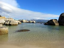Boulders seascape and blue sky Royalty Free Stock Photos