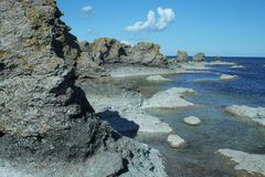 Boulders from seaside, sweden, gotland Royalty Free Stock Image