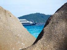 Boulders ship and ocean Royalty Free Stock Photos