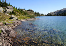 Boulders on Shore of Ring Lake. Ring Lake. Callaghan Valley. British Columbia. Canada Stock Photos