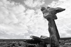 Boulders standing upright in rocky burren. Boulders in rocky landscape of the burren in county clare ireland in black and white Stock Photos