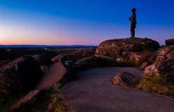 Boulders and statue on Little Round Top at twilight, Gettysburg Royalty Free Stock Image