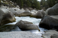 Boulders in Stream. Huge Boulder in Mountain Stream Stock Photos