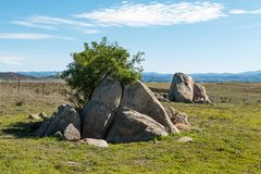 Boulders and Trees with Mountain Range in Distance Stock Photography