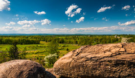 Boulders and view of battlefields on Little Round Top Stock Image