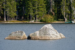 Boulders in Wright lake Royalty Free Stock Images
