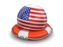 Boule avec le drapeau américain sur la bouée de sauvetage Photos stock