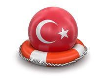 Boule avec le drapeau turc sur la bouée de sauvetage Image libre de droits