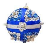 Boule bleue faite maison de Noël Photo libre de droits