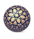 Boule brillante décorative bleu-foncé peu commune de sphère d'éclat avec le golde Images stock