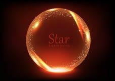 Boule brillante d'étoile, galaxie et concept magique de bannière de l'espace, célébration au néon lumineuse rougeoyante lumineuse illustration de vecteur