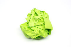 Boule chiffonnée de Livre vert Photo libre de droits