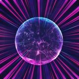 Boule colorée abstraite d'énergie d'infini dans faisceaux de lumière multicolores illustration stock
