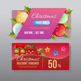 Boule colorée de Noël de bon de remise illustration de vecteur