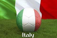 Boule d'équipe de football de l'Italie sur le grand fond de stade Concept de concurrence d'équipe de l'Italie Drapeau de l'Italie illustration stock