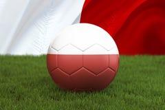Boule d'équipe de football de la Pologne sur le grand fond de stade Concept de concurrence d'équipe de la Pologne Drapeau de la P illustration libre de droits