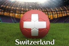 Boule d'équipe de football de la Suisse sur le grand fond de stade Concept de concurrence d'équipe de la Suisse Drapeau de la Sui illustration de vecteur