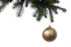 Boule d'or de Noël sur une branche d'un arbre de nouvelle année Image libre de droits