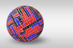 Boule 3D dimensionnelle avec le faux nuage de mot d'étiquette d'actualités Photos stock