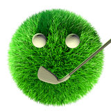 Boule d'herbe avec l'équipement de golf de golf Images libres de droits