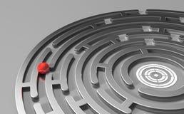 Boule dans le labyrinthe en métal avec le but illustration stock