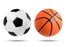 Boule de ballon de football et de basket-ball sur d'isolement Images stock