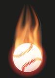 Boule de base-ball avec la flamme Photographie stock