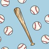 Boule de base-ball et manier la batte le modèle sans couture Tuile tirée par la main de texture de fond de griffonnages de griffo illustration libre de droits