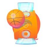 Boule de basket-ball au-dessus de cour avec les panneaux arrière et le filet Images libres de droits