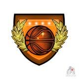 Boule de basket-ball avec la guirlande d'or de laurier au centre du bouclier Logo de sport pour toute équipe ou concurrence d'iso illustration de vecteur