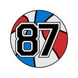 Boule de basket-ball avec le numéro 87 Image libre de droits