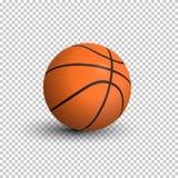 Boule de basket-ball d'isolement sur le fond transparent illustration réaliste de vecteur Photo stock